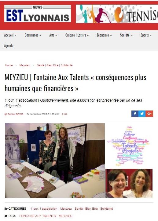 """Fontaine aux talents : conséquences (Covid-19) plus humaines que financières"""" - News Est-Lyonnais"""